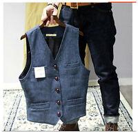 Winter Retro Mens Gray Wool British Vest Herringbone Pattern Tweed Tooling Vest