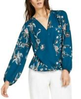 INC Women's Long Sleeve Floral-Print Surplice Top (Blue, L)