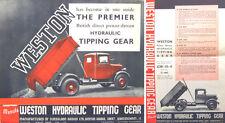 Weston ribaltamento idraulico Gear Pre-Guerra brochure originale di vendita