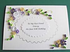 Luxury Handmade Personalised Birthday Day/Anniversary/Mum/Friend/  Card Purples