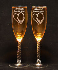2 Engraved Millitary Air Force Heart Toasting Champagne Wedding Flutes glasses