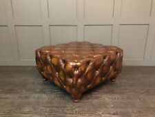 LARGE CHESTERFIELD STYLE COFFEE TABLE, BOX FOOT STOOL AVALIABLE IN 50 Leathers