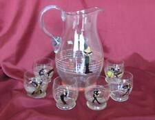1950s VINTAGE SET GLASS PITCHER JUG & 6 GLASSES HAND PAINTED – ORCHESTRA