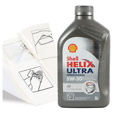 Engine Oil Top Up 1 LITRE Shell Helix Ultra AF 5W-30 5W30 +Gloves,Wipes,Funnel