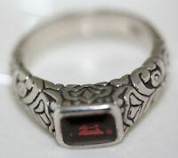 Fab Celtic 925 Sterling Silver 1 CT Emerald Cut Garnet Filigree Modern Ring Sz 7