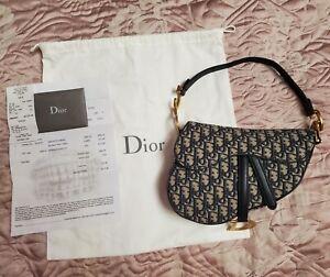 Christian Dior SADDLE BAG Blue Oblique Jacquard