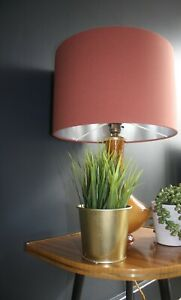 Lampshade, Earthy Terracotta Cotton with Brushed Silver Lining
