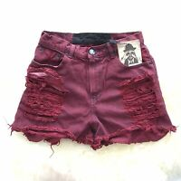 One teaspoon Oneteaspoon high waisted hawk denim shorts FESTIVAL 8 10 Maroon