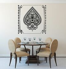 Vinyl Decal Wall Sticker Aces of Spades with Flowers Pattern Inside (n688)