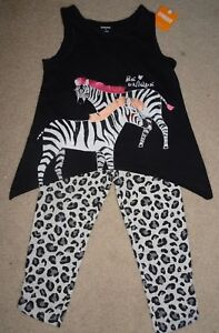 NEW GYMBOREE SIZE 4 5 6 7 SAFARI TWIRL SET ZEBRA TANK TOP LEOPARD CAPRI LEGGINGS