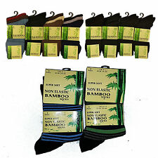 6 Pairs Men's Bamboo Non Elastic Easy Grip Super Soft  Anti Bacterial Socks 6-11