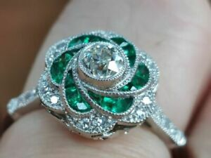 4Ct Round Cut Emerald Syn Diamond Art Filigree Floral Ring White Gold Fns Silver