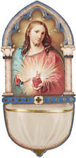 SACRED HEART OF JESUS HOLY WATER FONT - CATHOLIC CANDLES STATUES PICTURES LISTED