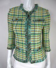 St John Collection By Mari Gray Santana Knit 3/4 Sleeve Blazer Sz 2 Green Zipper