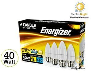 4 PACK ENERGIZER LED CANDLE BULBS 40 W BC B22 BAYONET CAP WARM WHITE DAYLIGHT