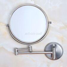 Brushed Nickel Folding Dual Arm Extend Bathroom Mirror Wall Mount Makeup Mirror