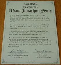 NEW! Gears of War 3 Adam Fenix LAST WILL and TESTAMENT Paper Marcus JACINTO gow