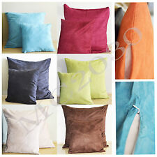 Solid Suede Colors Plain Design Decor Pillow Case Cushion Cover Square 45x45cm
