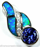 2 Carats Tanzanite & Blue Fire Opal Inlay Solid 925 Sterling Silver Pendant