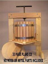 WINE PRESS CIDER PRESS PLANS 30 PAGE- 43 COLOR PHOTOS