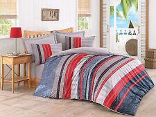 %100 Cotton,Modern Design Quilt/Duvet Cover Set,4 Pcs,Full/Queen, Blue Red Grey