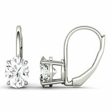 1.80 ct Oval-Cut Leverback Solitaire Drop Earrings 14K Real White Gold