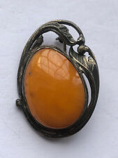 Antique Tested Silver big Egg Yolk Amber Brooch, 4.85g