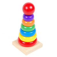 Stacking Ring Tower Blocks Educational Toy Rainbow Stack Up Wood Toy LY