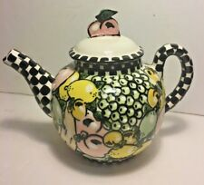 Vintage Robin Sterling Tea Pot Ceramic Fruits Checkerboard Made for Barneys NY