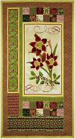 """Tis The Season Christmas Floral 100% cotton 44"""" Fabric by the panel (24"""")"""