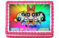 "Powerpuff girls edible cake image cake topper cake decoration  7.5""x10"""
