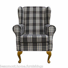 Wing Back Fireside Armchair Small Westoe Orthopaedic in Charcoal Kintyre Tartan