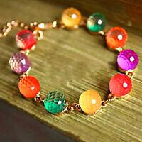 Bg _ Hk- Damen Bunt Candy Perlen Goldener Ton Kristall Kette Armreif Manschette