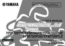 Yamaha Owners Manual Book 2014 GRIZZLY 700 YFM700DE
