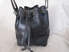 Genuine Jean Louis Fernandez strong leather drawstring bucket bag in black