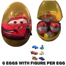 "1 New Jumbo 6"" Egg With 6 Disney Cars PLASTIC SURPRISE EGGS W/Toy Figure Per Egg"