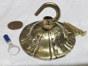 vintage CEILING ROSE 78mm FRENCH chandelier hook Cast brass c1950 OLD quality