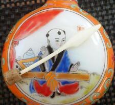 Antique Chinese Milk Glass Snuff Bottle RARE Scent Musical Men w original Spoon