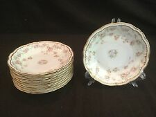 SET OF 10 THEODORE HAVILAND LIMOGES SCHLEIGER 340 COUPE SOUP BOWLS GOLD RIM