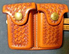 Vintage SD MYRES El Paso Texas Brown Basket Weave Magazine Case Carrier   NICE!