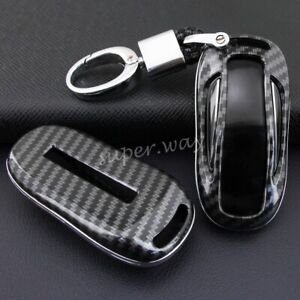 Carbon Fiber Hard Shell Key Fob Chain Case Protector Cover For Tesla Model X