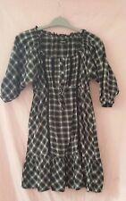 Cotton Round Neck Checked Dresses for Women