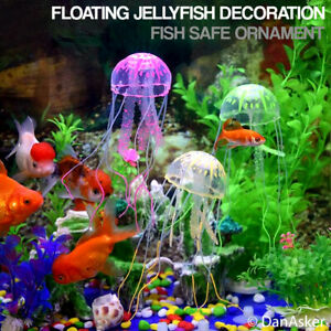 Floating Jelly Fish Glowing Effect Aquarium Tank Ornament Decoration Fish Safe