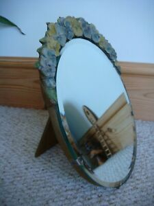 Pretty Art Deco Pansy Barbola Bevelled Glass Free Standing Mirror with Ball Feet