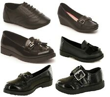 Girls Shoes T Bar Brogues Loafer Patent/PU School Shoe Size UK 10- 5 with Tassel