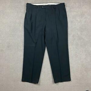 Alan Flusser Golf Pants 42x30 100% Polyester Black Hook & Eye Button Straight