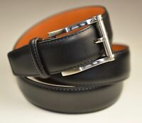 "Men's Magnanni "" Carbon ""  Leather Belt Black Size 46 Style  # 1121"