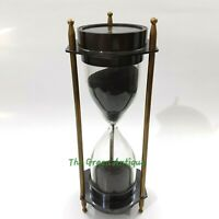 Antique Brass Sand Timer Both Side Compass Collectible Marine Gift