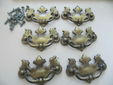 Vintage Chippendale Antiqued Brass Drop Bail Drawer Pulls Lot of 6