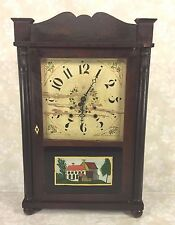 Antique Samuel Terry Clock Case Splat & Column Brass Movement Running?